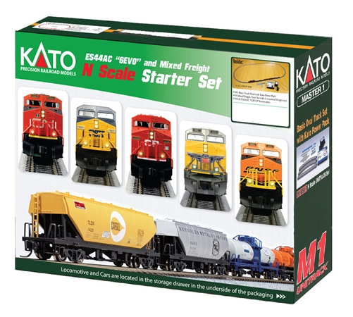"Kato N Scale Ready to Run GE ES44AC ""Gevo"" and Mixed Freight Starter Set - CSX Dark Future"