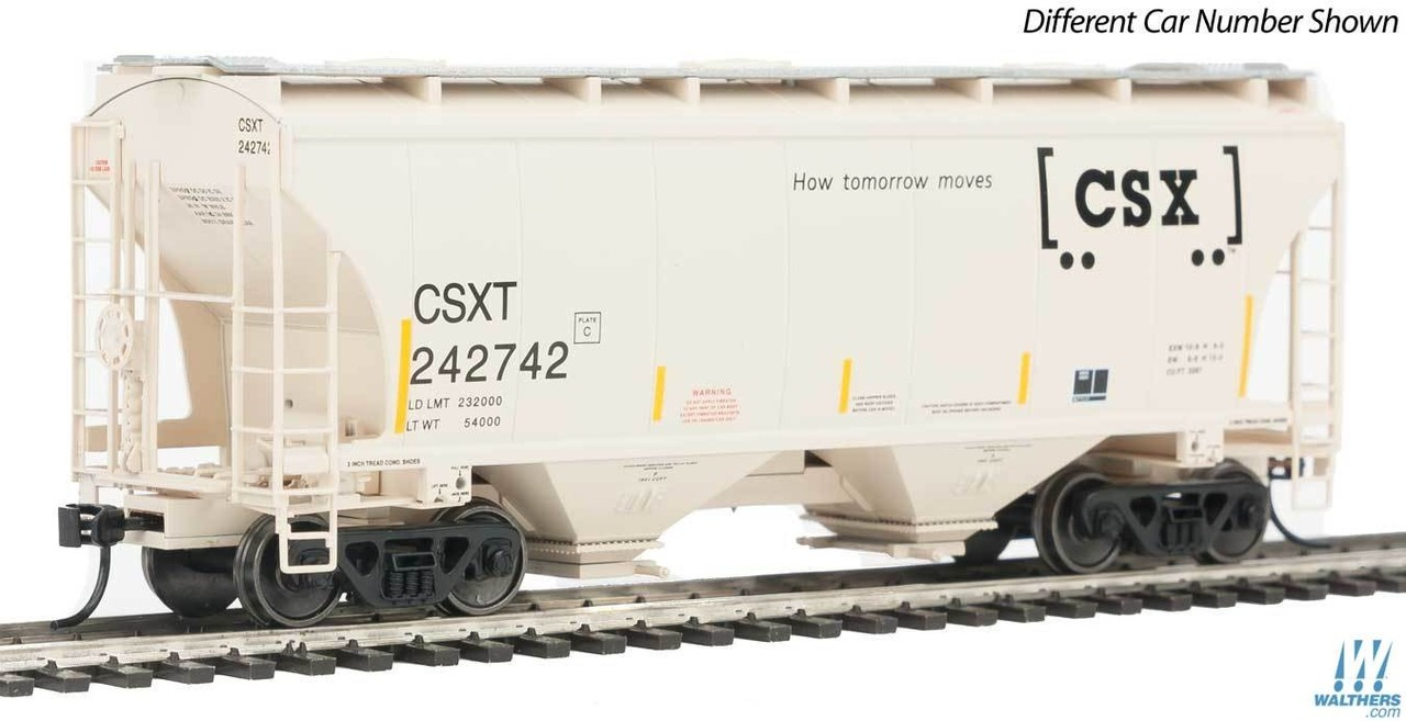 Walthers Mainline HO 910-7515 39' Trinity 3281 2-Bay Covered Hopper - Ready to Run - CSX - CSXT #242824