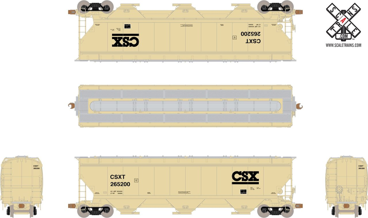 ScaleTrains HO Operator SXT10551 Gunderson 5188 cf Covered Hopper CSX - CSXT#261728