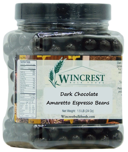 Dark Chocolate Amaretto Espresso Beans - 1.5 Lb Tub