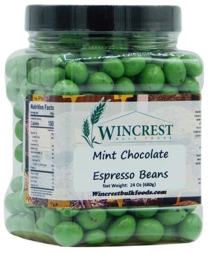 Green Mint Chocolate Espresso Beans - 1.5 Lb Tub