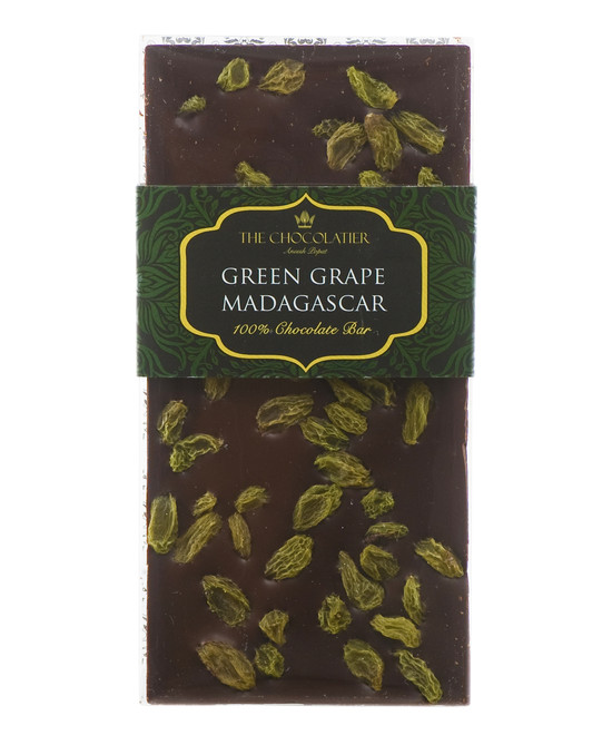 100% Dark Madagascan Chocolate Bar with Green Grapes 100g