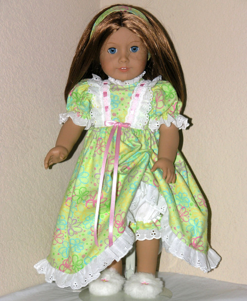 Handmade Flannel Doll Gown for American Girl Emily Green Swirl
