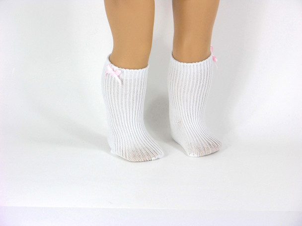18 inch White Socks with Pink Bow Fit American Girl