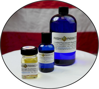Fluorescent invisible blue inks sold in ounce, two ounce, pint and gallon sizes.