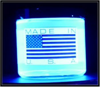 Back of black light UV blue paint that is always made in America