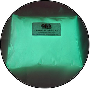 Yellow green super glowing powder for paints and inks.