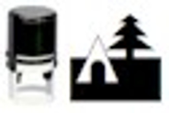 Camping tent and tree stamping image