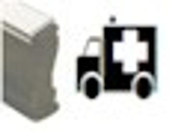 Wood handle black light stamp with image of ambulance on it