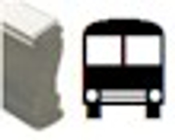 Black light marking device with an image of a bus on the wood handled stamp