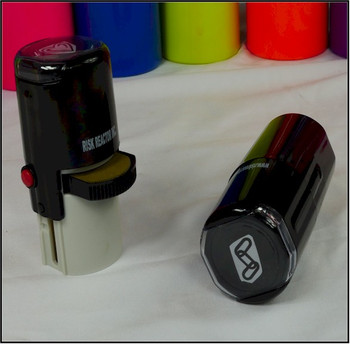 Stamps for hands or other surfaces using any ink or our black light inks.