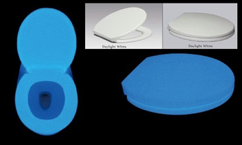 Amazing blue phosphorescent toilet seat that will glow all night.