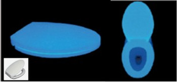 Round blue toilet seat and cover that will glow all night for safety completely environmentally friendly and will glow for your life time.