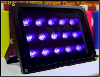 45 watt UV LED panel style theatrical flood black light.
