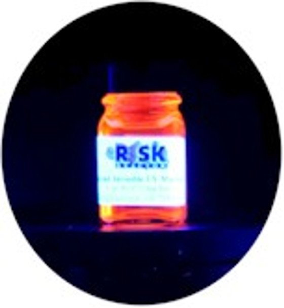 Black light red oil based paint that is invisible except under 365 nm uv light