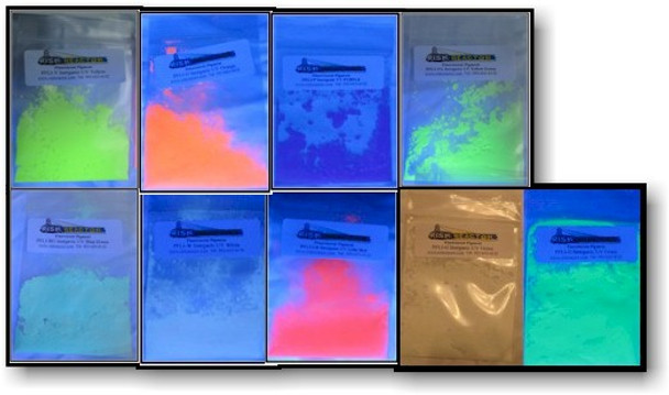 Test Size of all the fluorescent pigment long wave inorganic black light powders.