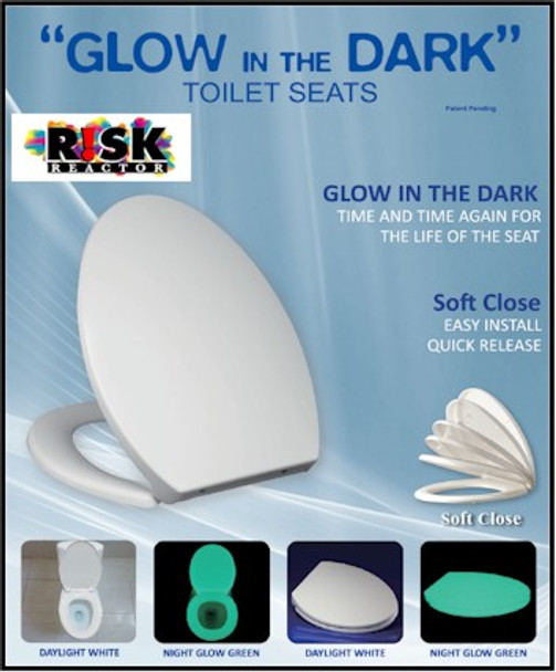 Retail packaging of the elongated green glow in the dark toilet seat