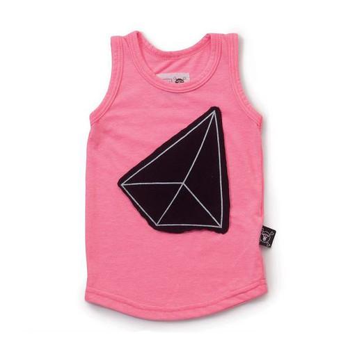 Geometric Patch Tank Top Pink