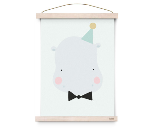 Happy Hippo Poster A3
