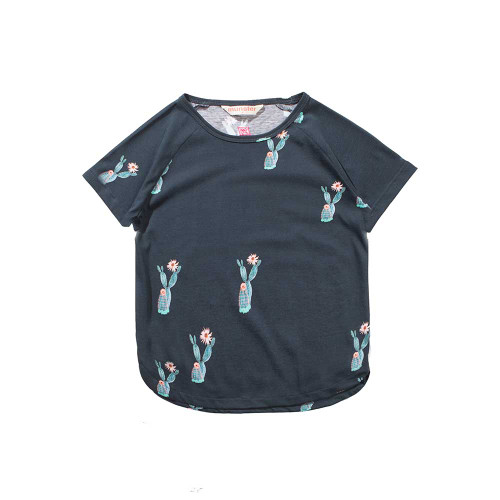 Pin The Flower Soft Black Top