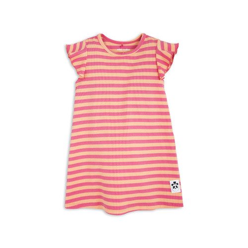 Stripe Rib Wing Dress Pink