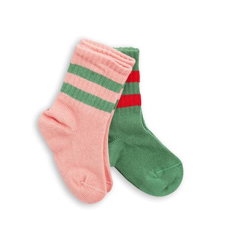 2 Pack Stripe Socks Green/Pink