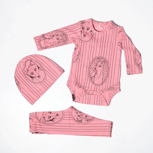 Fox Family LS Bodysuit Pink