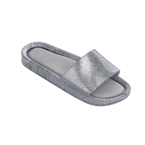 Kids Beach Slide Silver Glitter