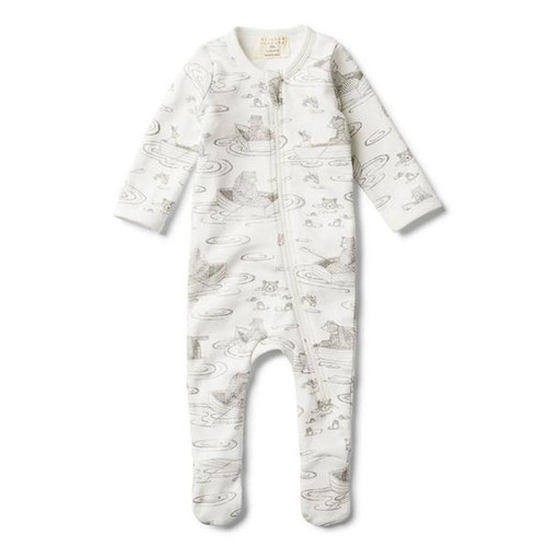 Little Row Boat Zip Suit With Feet