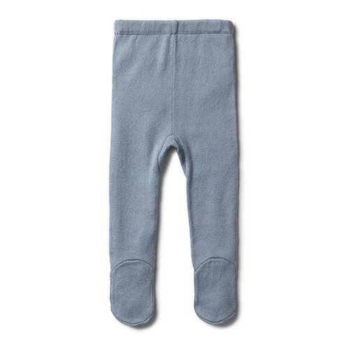 Dusty Blue Knitted Legging With Feet