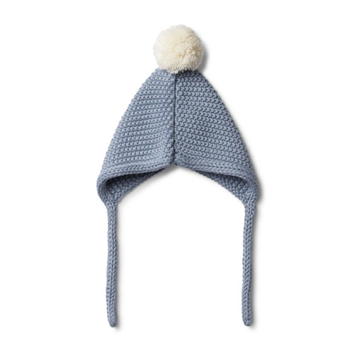 Dusty Blue Knitted Bonnet