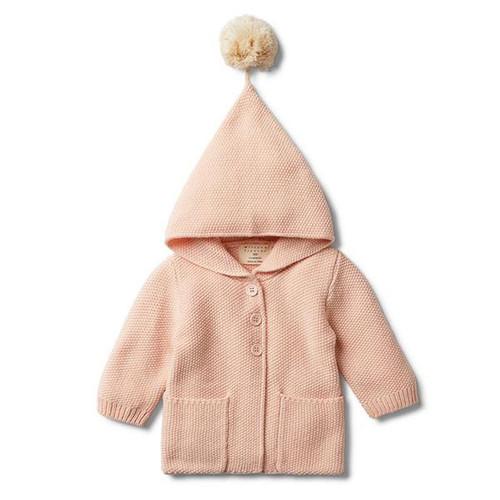 Peachy Pink Hooded Jacket With Pom Pom