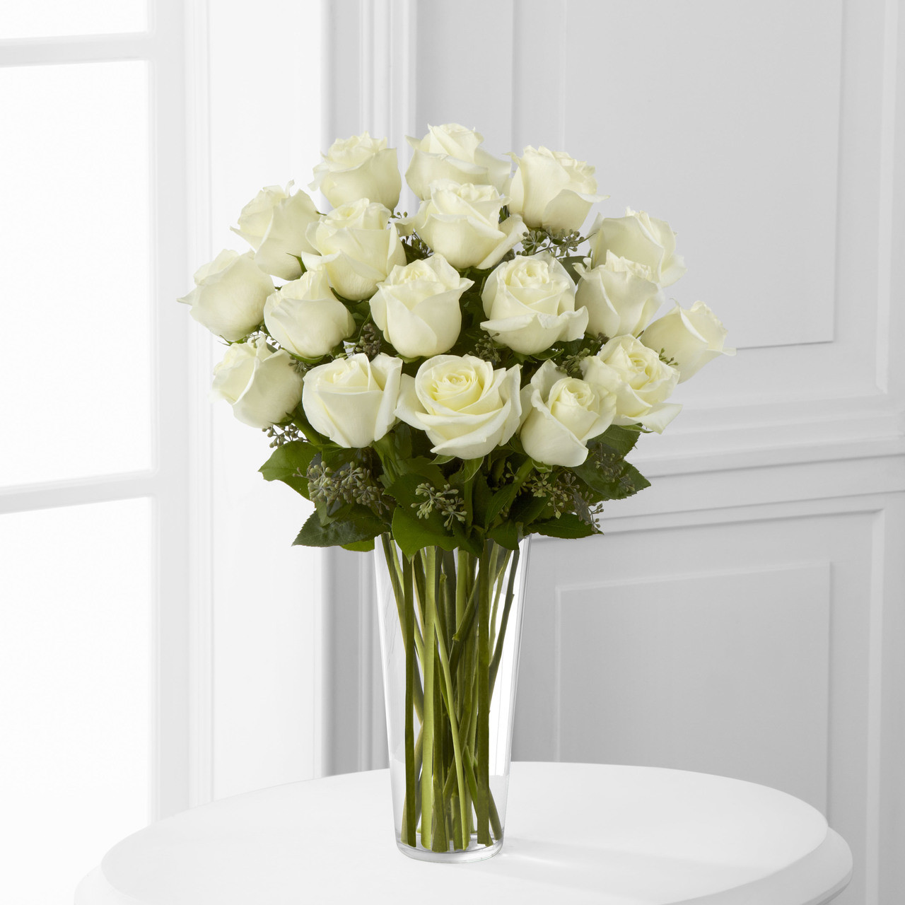 18 White Rose Bouquet Long Island Flower Delivery