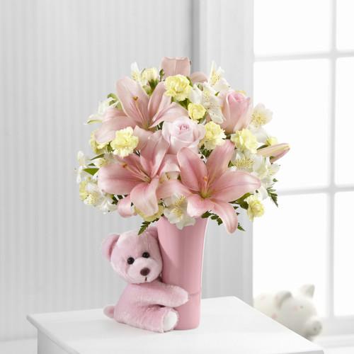 Baby Girl Big Hug Bouquet Flowers Long Island