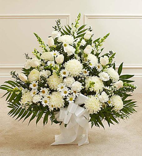 Heartfelt Tribute White Floor Basket Arrangement Long Island Florist