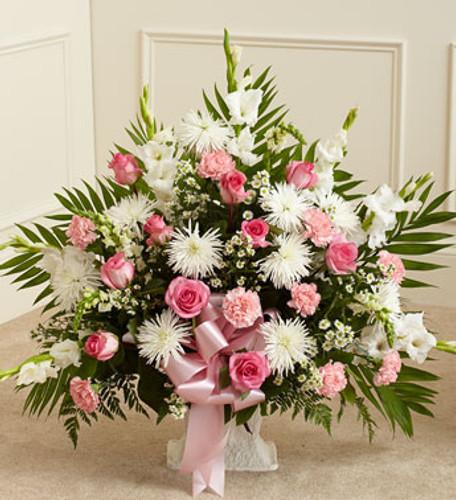 Tribute Pink & White Floor Basket Arrangement Florist Long Island NY