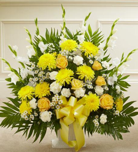 Heartfelt Tribute Yellow Floor Basket Arrangement Long Island Flower Delivery