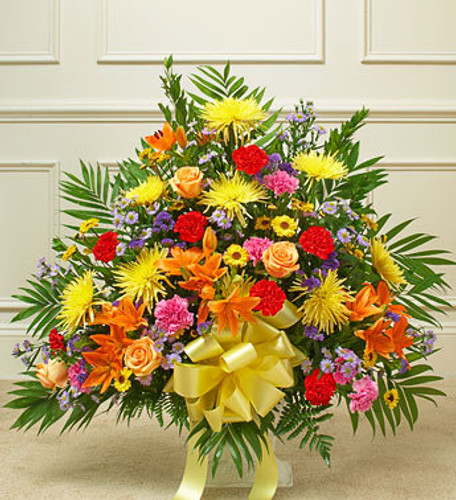 Heartfelt Tribute Bright Floor Basket Arrangement