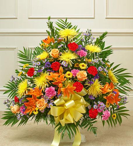 Heartfelt Tribute Bright Floor Basket Arrangement Flowers Long Island
