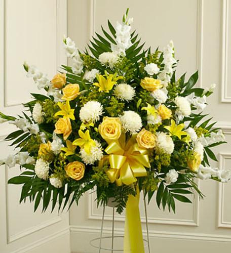 Heartfelt Sympathies Yellow Standing Basket Long Island Florist