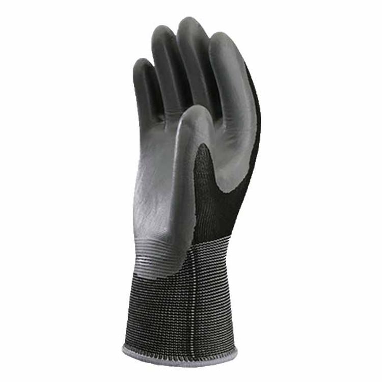 Atlas NT-370 knit-dipped nitrile gloves in black