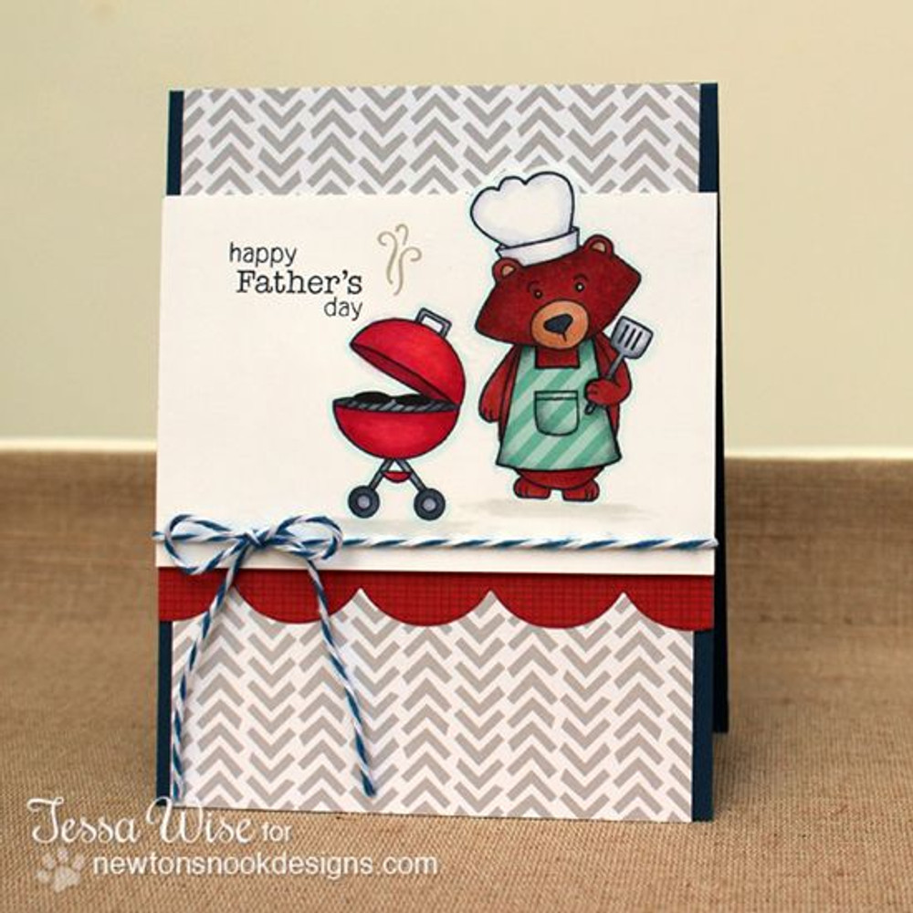 Happy Fathers Day Bear Card| Winston's BBQ stamp set by Newton's Nook Designs
