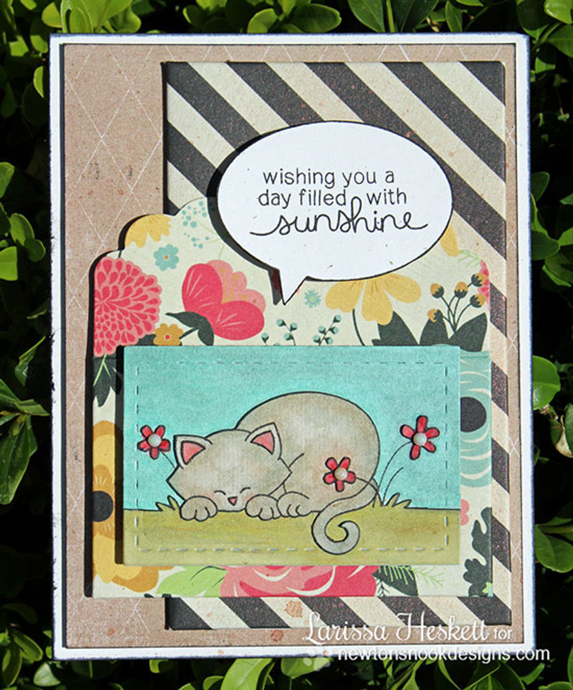 Sleeping cat card made with Newtons Day Dream stamp set from Newton's Nook Designs | 3x4 photopolymer Stamp Set | Newton's Nook Designs