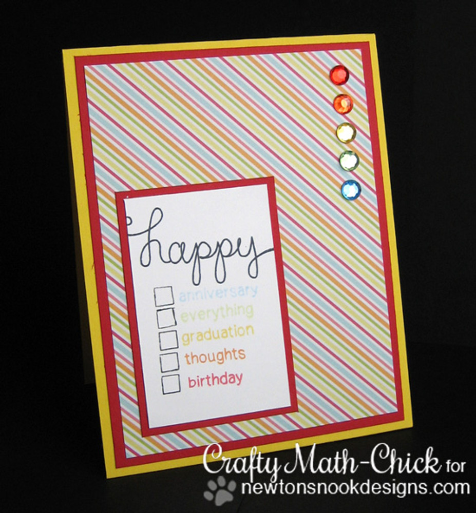Sentiment check box card made with Simply Sentimental stamp set from Newton's Nook Designs | 4x6 photopolymer Stamp Set | Newton's Nook Designs