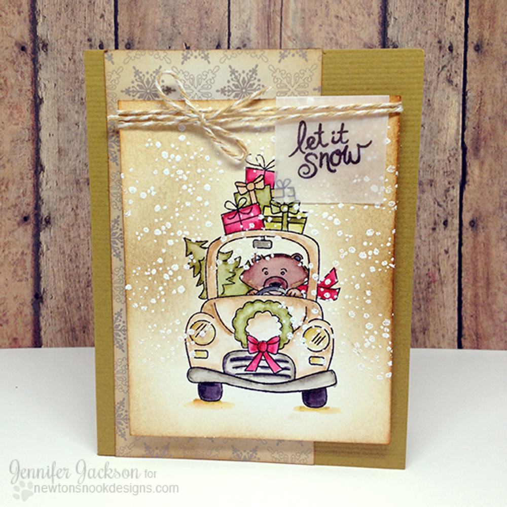 Bear with gifts and car Christmas Card | Winston's Home For Christmas | 4x6 photopolymer Stamp Set | Newton's Nook Designs