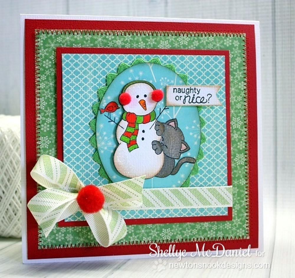 Cat with Snowman Christmas Card | Newton's Curious Christmas | 4x6 photopolymer Stamp Set | Newton's Nook Designs