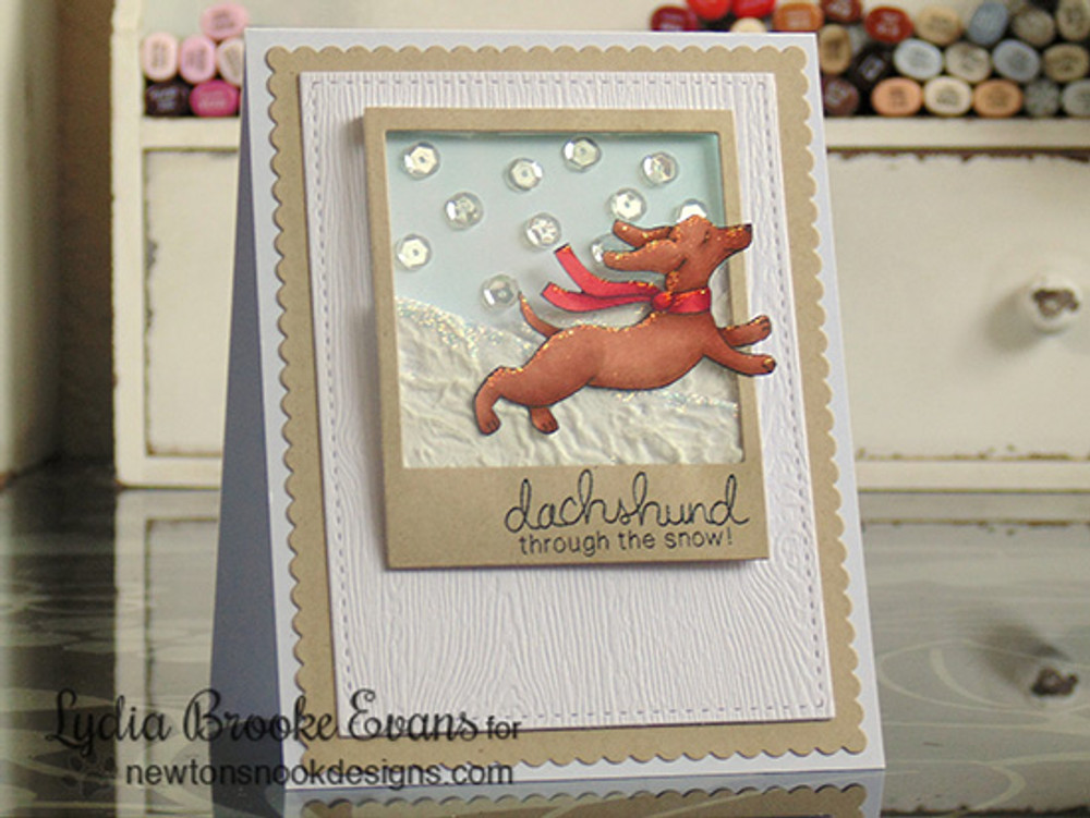 Dachshund Winter Card | Holiday Hounds | 4x6 photopolymer Stamp Set | Newton's Nook Designs