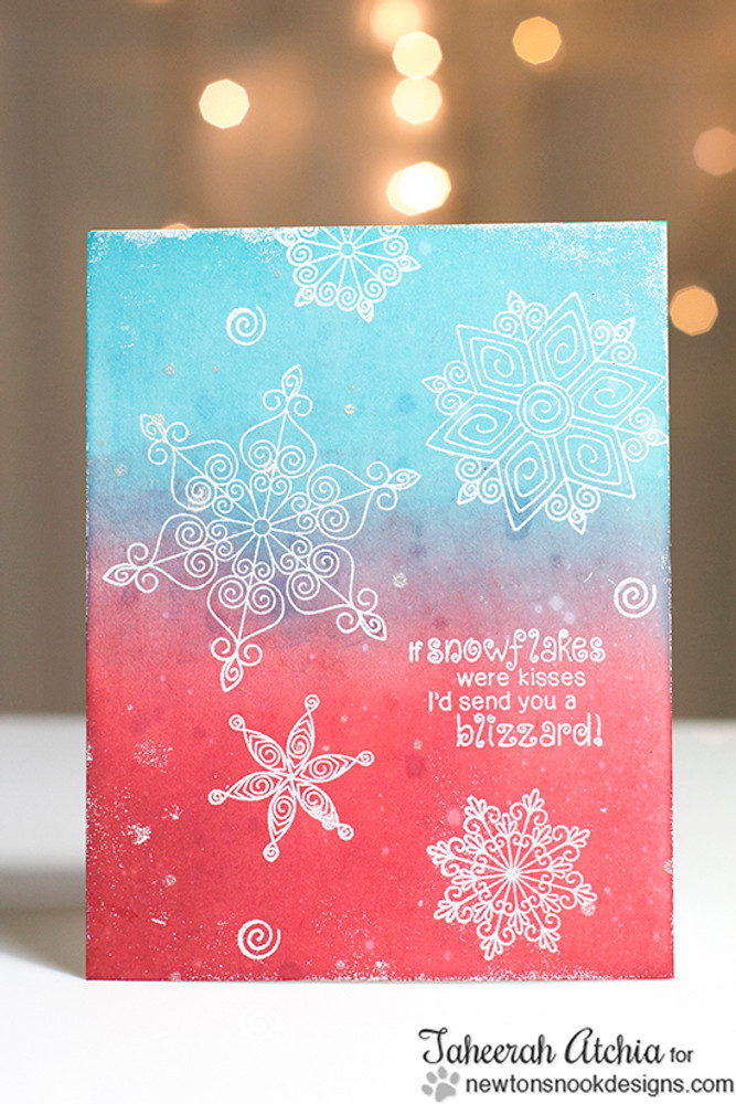 Snowflake Winter Card | Winter Tails | 4x6 photopolymer Stamp Set | Newton's Nook Designs
