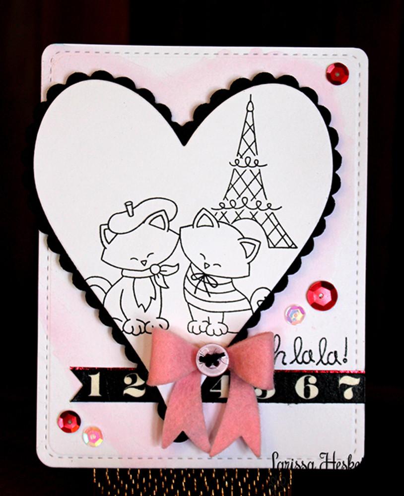 Cats in Paris Love Card   Newton Dreams of Paris   4x6 photopolymer Stamp Set   Newton's Nook Designs