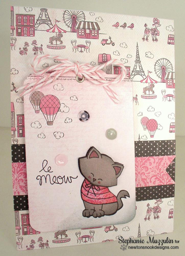 Cat in Paris Le Meow Card   Newton Dreams of Paris   4x6 photopolymer Stamp Set   Newton's Nook Designs